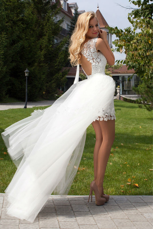 Wedding Dress New Scoop Sheath Short Lace Cap Sleeve Detachable Trian Tulle Bridal Dresses B-25