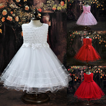 Summer Flower Girl Dress Rose Floral Sleeveless Princess Baby Girls Lace Dresses with 3 Bow Kids Party Wedding Clothes C106