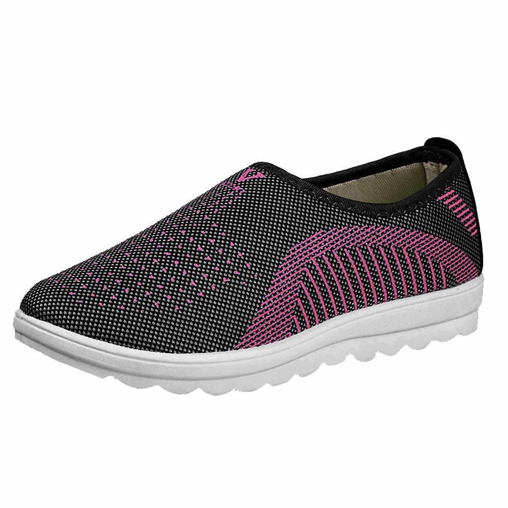 Herfst Gevulkaniseerd Schoenen Mesh Platte Met Loafers Plus Size Katoen Vrouwen Flats Casual Wandelschoenen Streep Sneakers Voor Vrouwelijke Туфли #10