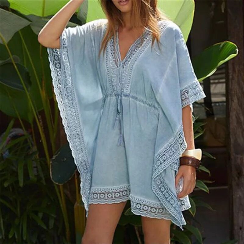 Women Short Sleeve Swimsuit Cover Up Mini Beach Dress in Cover Ups from Sports Entertainment