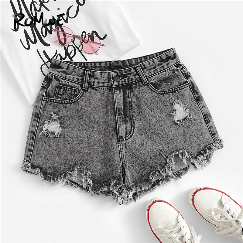 ROMWE Ripped Frayed Edge Denim   Shorts   Grey Solid Button Zipper Fly Women   Shorts   2019 Fabulous Chic Summer Mid Waist   Shorts