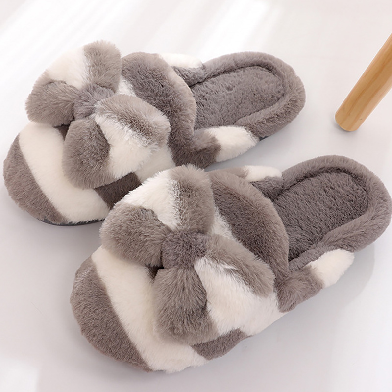 купить Women slippers winter butterfly-knot striped fashion plush room slippers for women non-slip warm fluffy slippers по цене 678.62 рублей