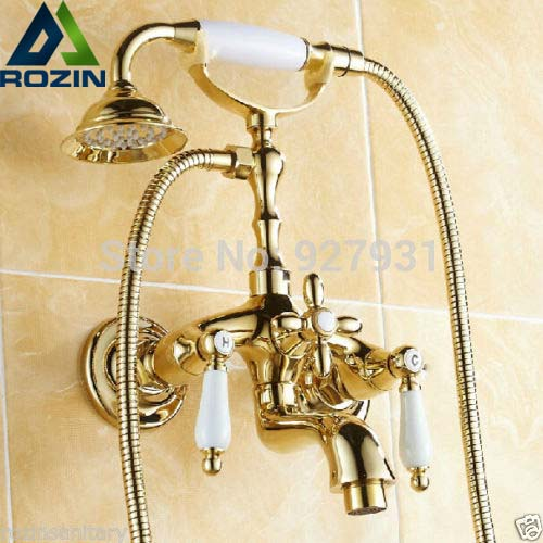 Golden Dual Handles Bath Tub Faucet Telephone Style Golden Color Bathroom Tub Mixer Faucet with Handheld Shower antique brass telephone style handheld shower head dual handles bath tub mixer tap wall mounted bathroom faucet wtf312