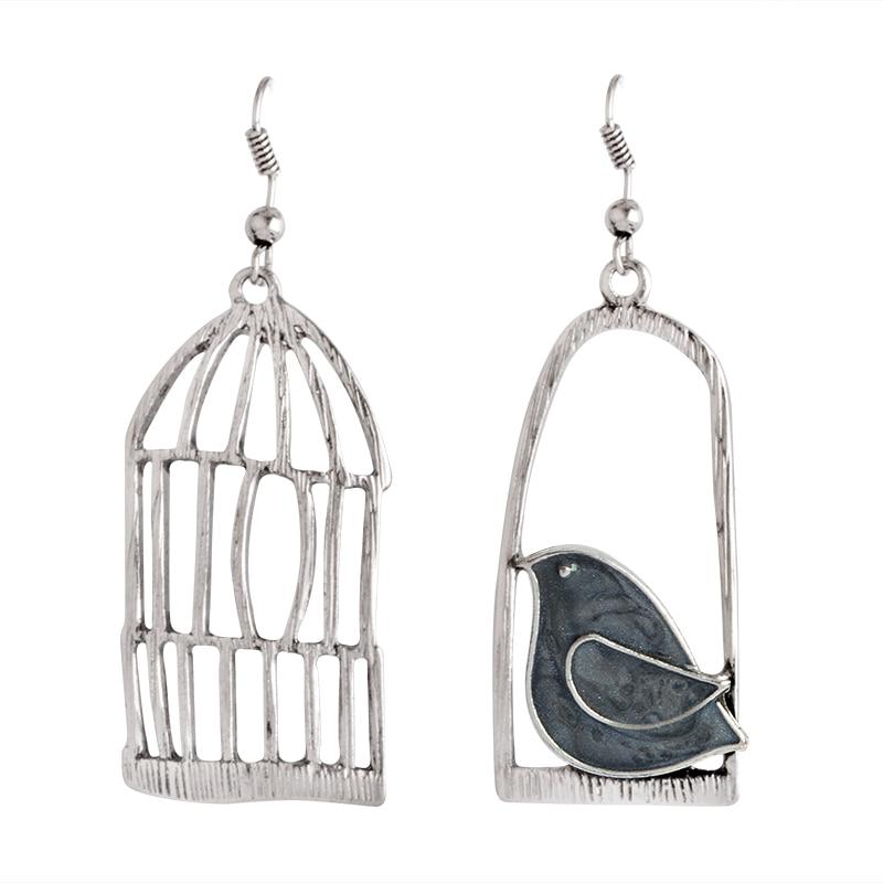 Мисс Зое, милые Креативные Винтажные серьги, эмаль, птица, клетка, бронзовые серьги-капли, женские серьги, Brincos de gota feminino - Окраска металла: style2