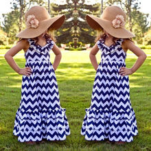 2016 Kids Girls Summer Boho Halter Dress Long Beach Stripes&Ruffles Dress 3-10Y