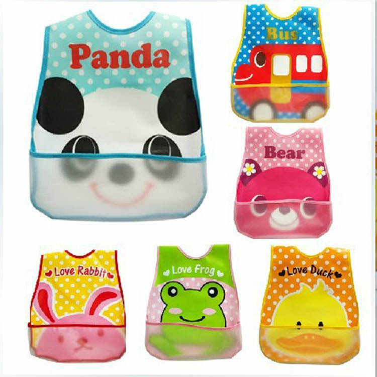 High quality Baby Bandana Bibs EVA Plastic Waterproof Lunch Bibs Infants Cartoon Bibs Baberos For Children Feeding Clothing