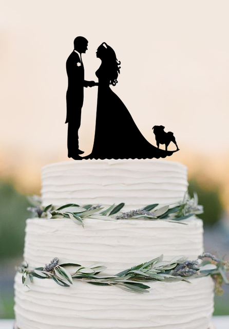 Wedding Cake Topper Silhouette Groom And Bride With Dog Acrylic Nurse