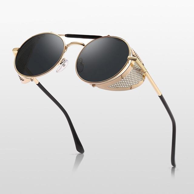 6234f039e4 Steampunk gafas Retro gafas De Sol hombres 2019 Punk ronda gafas De Sol  mujer marca diseñador gafas De Sol para hombre UV400, gafas De Sol