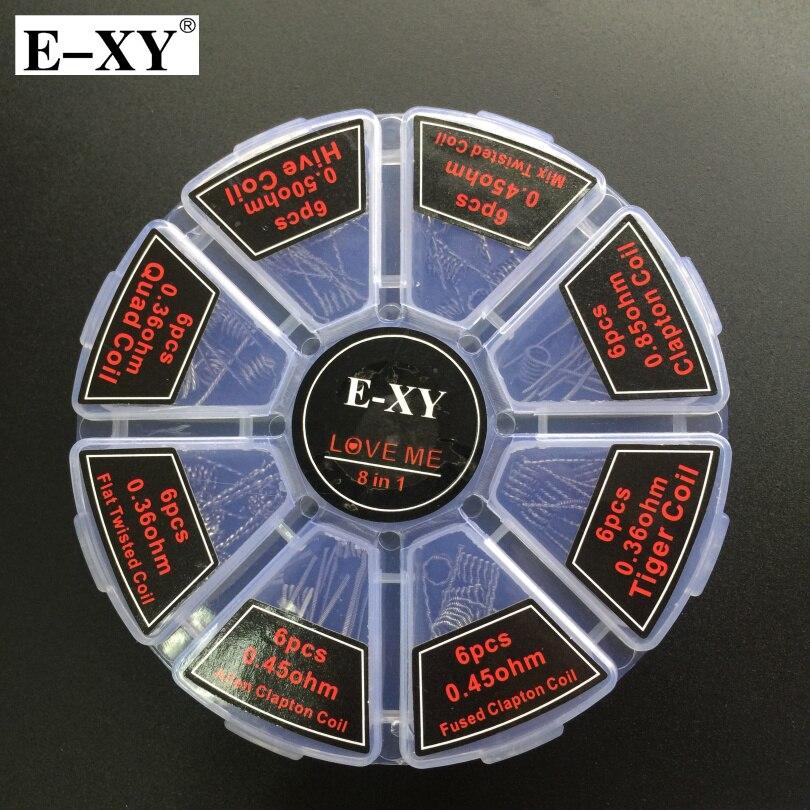 E-XY 8 в 1 Катушка Провода демон 48 шт. готовые катушки Клэптон Quad Тигр куст чужой плоским витой убийца DIY RDA Rdta VAPE распылителя