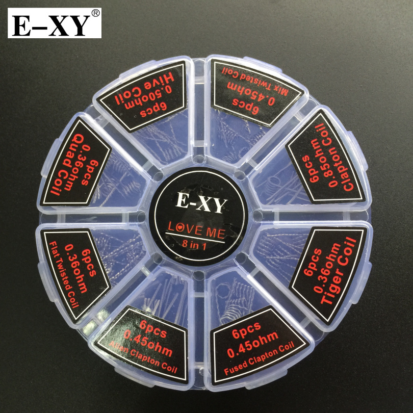 E-XY 8 in 1 Coil Wire Demon 48pcs Prebuilt Coil Clapton Quad Tiger Hive Alien Flat Twisted  killer DIY RDA RDTA  Vape Atomizer e xy magic stick cw tool coil vape complete kit e cig master 6 in 1 diy jig vape tool kit pe box ecig rda tool kit atomizer coil