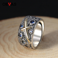 Real S925 Silver Gold color Cross men ring Top quality Thai Silver Blue starry retro Open ring birthday Gift Jewelry Wholesale