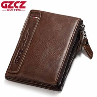ESIPOSS Genuine Crazy Horse Leather Men Wallet Small Short Vintage Leather Wallet Coin Purse New High