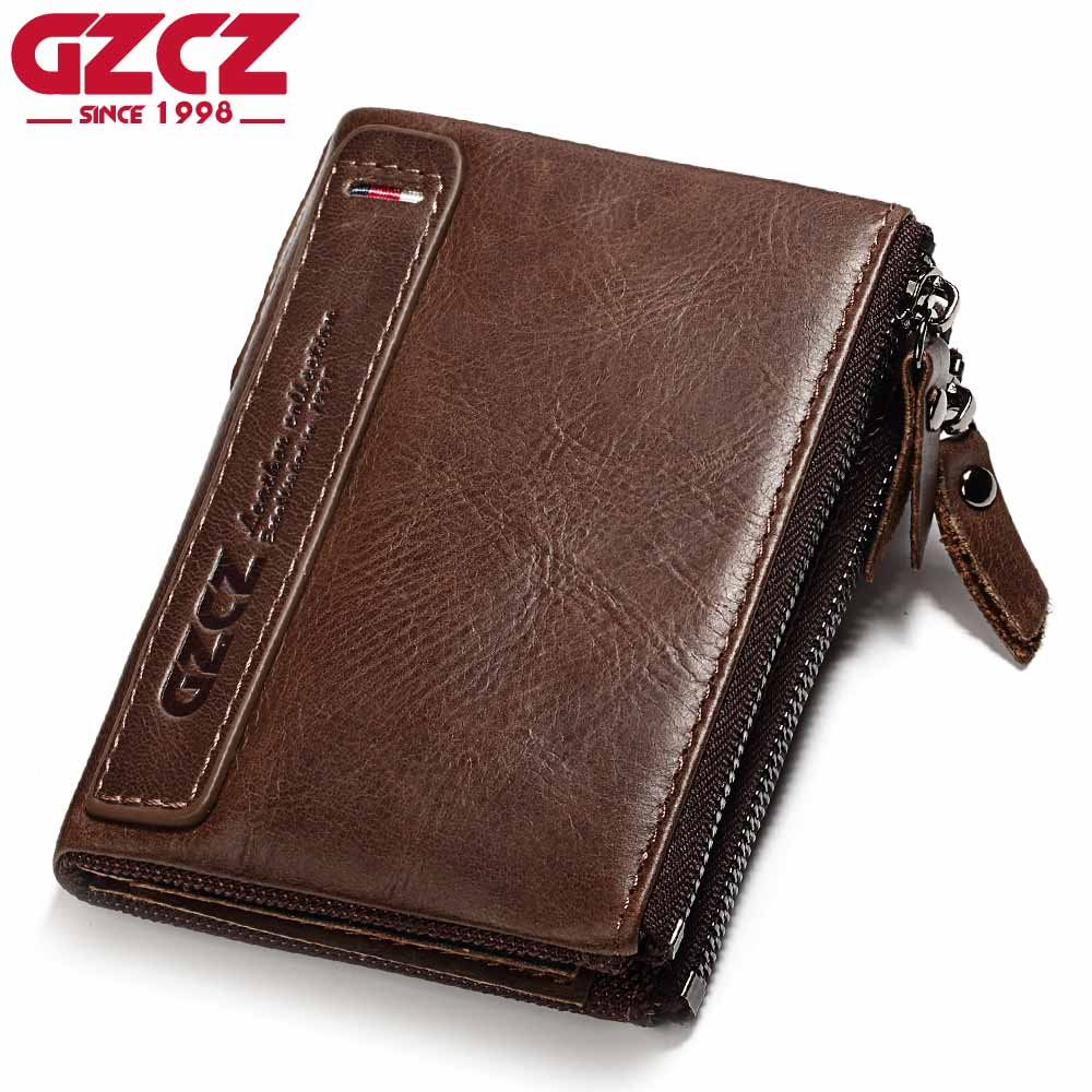 GZCZ Luxury Brand Wallet Men Zipper Design 2017 Mens Genuine Leather Vallet Mini Coin Purse Crazy Horse Male Walet For Rfid
