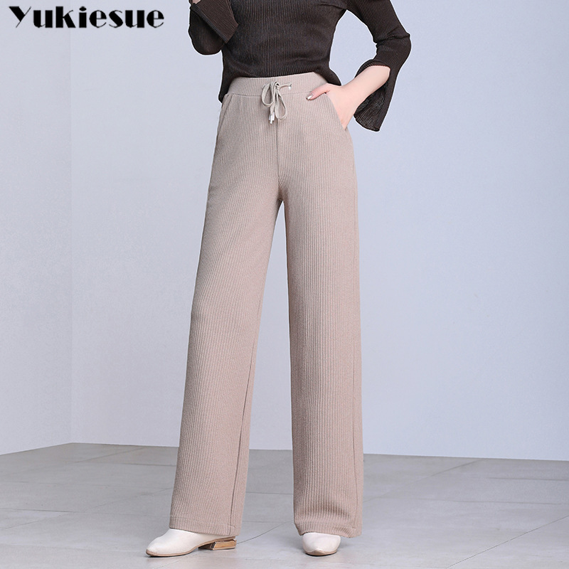 High Waist Wide Leg Pants Capri For Women Loose White Black Khaki Casual Office Work Long Knitting Womens Trousers Plus Size