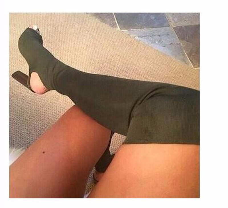 High quality Women Over the Knee Sock Boots Knit Stretch Ladies Boots High Heels Shoes Sexy Thigh High Boots Open Toe Party shoe