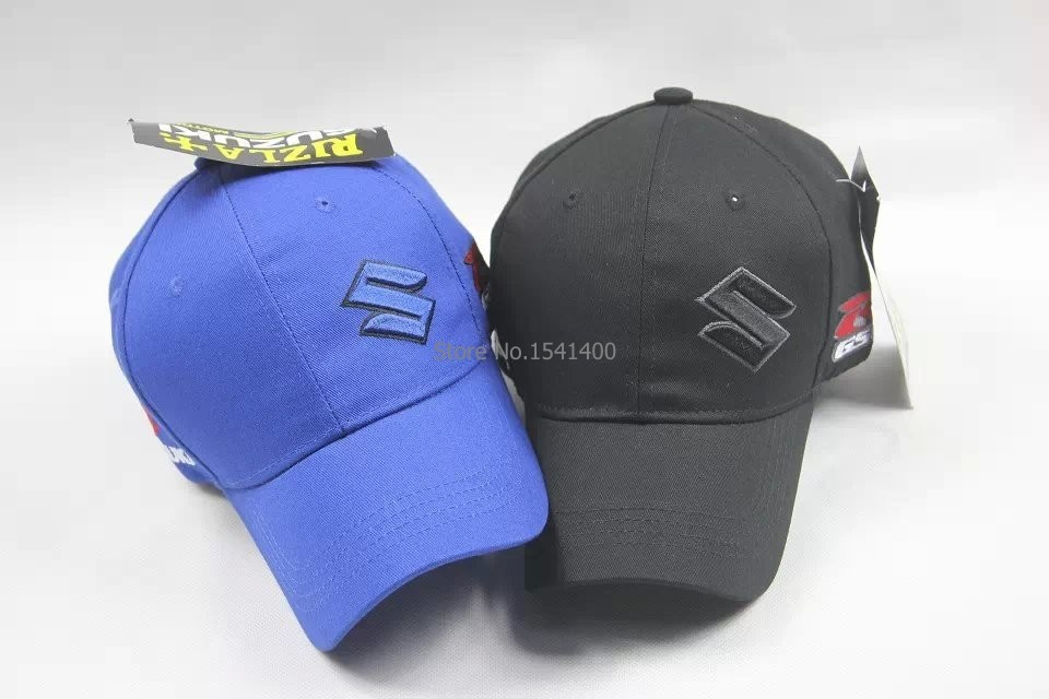 Prix pour Noir bleu embroiderid SUZUKI logo de voiture moto gp racer baseball chapeau d'été de mode réglable fans sunhat camion chapeaux