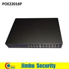 16 Puerto 10/100 Mbps PoE Switch de 2 puertos Gigabit POE distancia 100 m dist Ethernet 10/100/1000 M RJ45 salida DC48V 200 W POE22016P