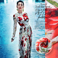 Digital printing printing thin silk silk chiffon silk fabrics [Daisy] poppy beach skirt