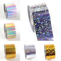 1Roll Laser Star Waves Nail Transfer Foil Gold Sliver Holographic Starry Sky Nail Art Sticker Decals DIY Manicure Decorations