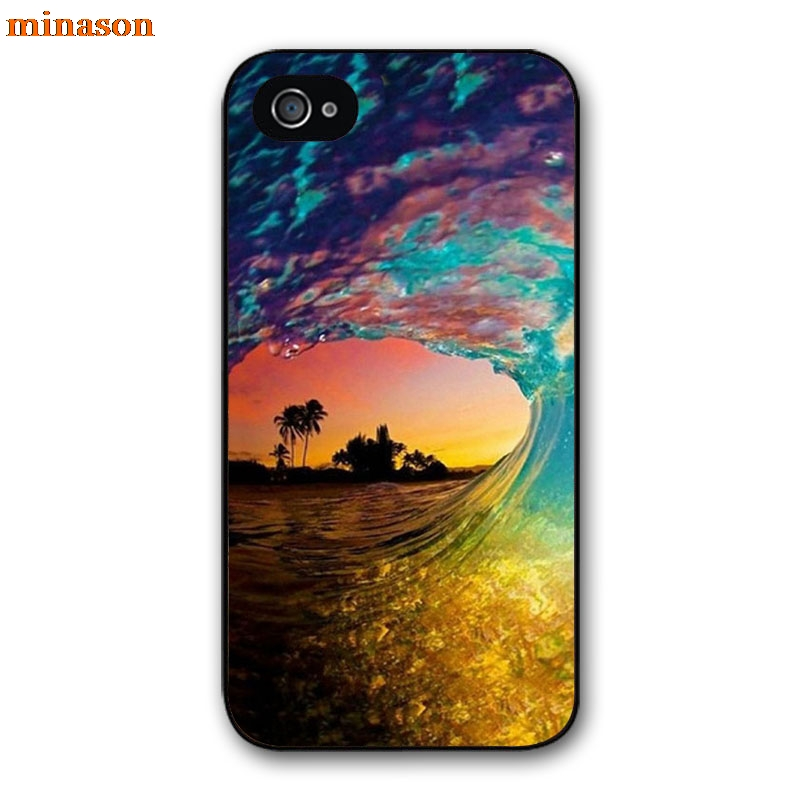 minason Surfing In <font><b>Hawaii</b></font> Ocean Scene Cover <font><b>case</b></font> for iphone 4 4s 5 5s 5c 6 6s 7 8 plus samsung galaxy S5 S6 Note 2 3 4 F5185
