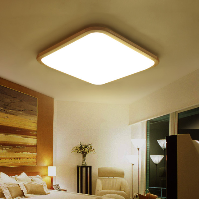 Japanese Style Solid Wood Led Ceiling Lamp Rectangular Tatami Bedroom  Living Room Luminarias Para Sala