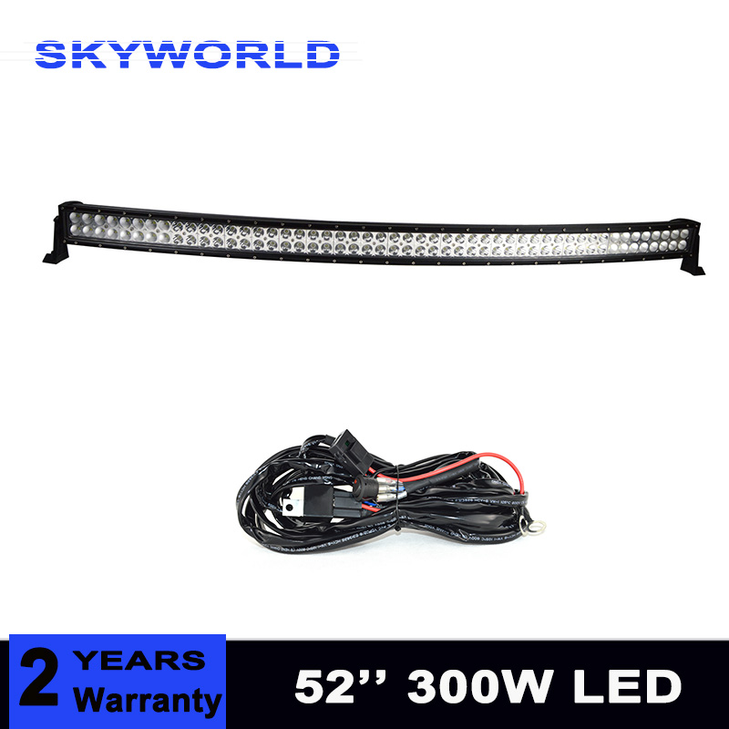 цена на 300W Curved Led Light Bar 52inch Combo Beam Offroad Car Truck 4x4 SUV ATV 12V 24V Driving Work Lamp