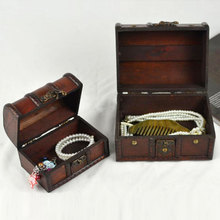 2pcs Vintage Necklace Ring Jewelry Treasure Chest Case Wooden Box Organizer Protable Earrings Multi-function Storage