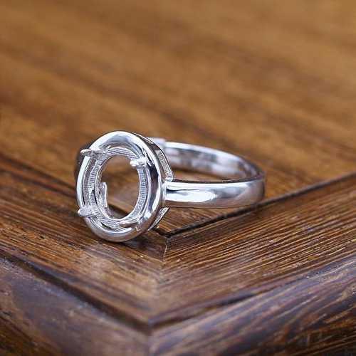 925 เงินสเตอร์ลิงสตรีงานแต่งงานแหวน Cabochon รูปไข่ 7x9 มิลลิเมตรกึ่ง Mount แหวนการตั้งค่าเครื่องประดับสำหรับอัญมณี