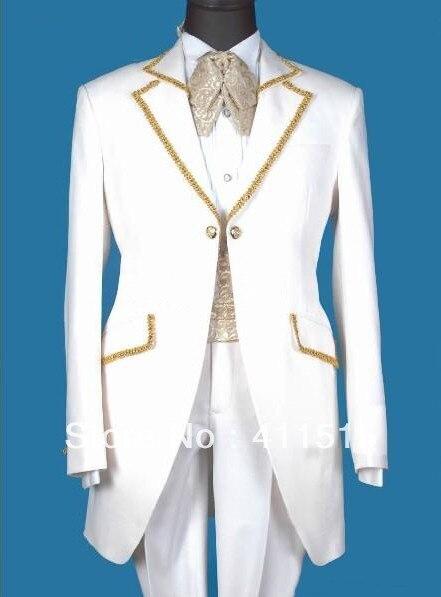 Free Shipping/Custom Design Groom Suit\White Groom WEAR Tuxedos Groomsmen Men Wedding VEST Best/custom Man Wedding DRESS