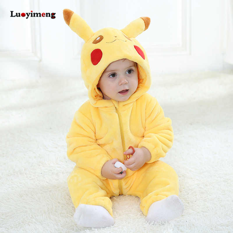 Baby Rompers Baby Girl Clothes Pikachu Kigurumi Kids Onesie Anime Cosplay  Costume New Born Boy Pajama b59b00cf2
