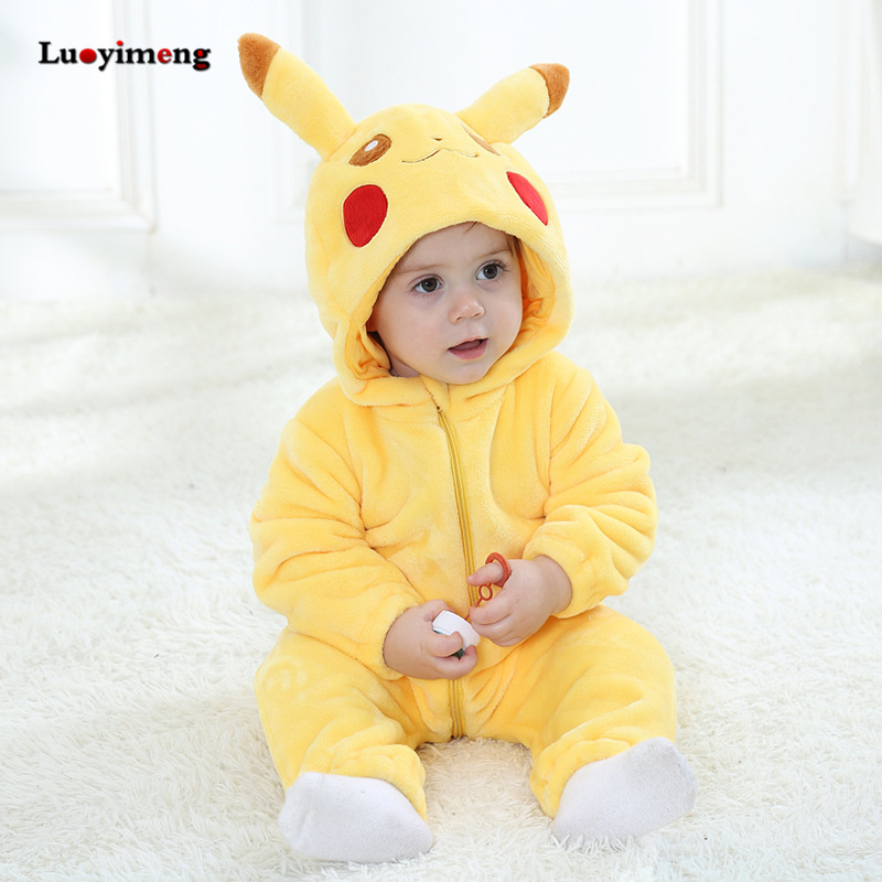 Baby Rompers Baby Girl Clothes Pikachu Kigurumi Kids Onesie Anime Cosplay Costume New Born Boy Pajama Flannel Warm Soft Jumpsuit цена