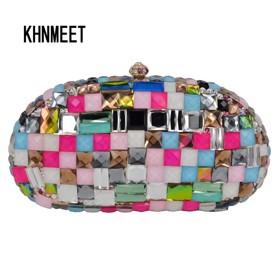 Fashion Multicolor Luxury Glass Women Clutch Bag Party Purse Ladies Wedding Bridal Bag Female Chain Handbags Day Clutch SC601 black and white two color hot selling elegant ladies clutch bag fashion women handbags wedding handbags c696