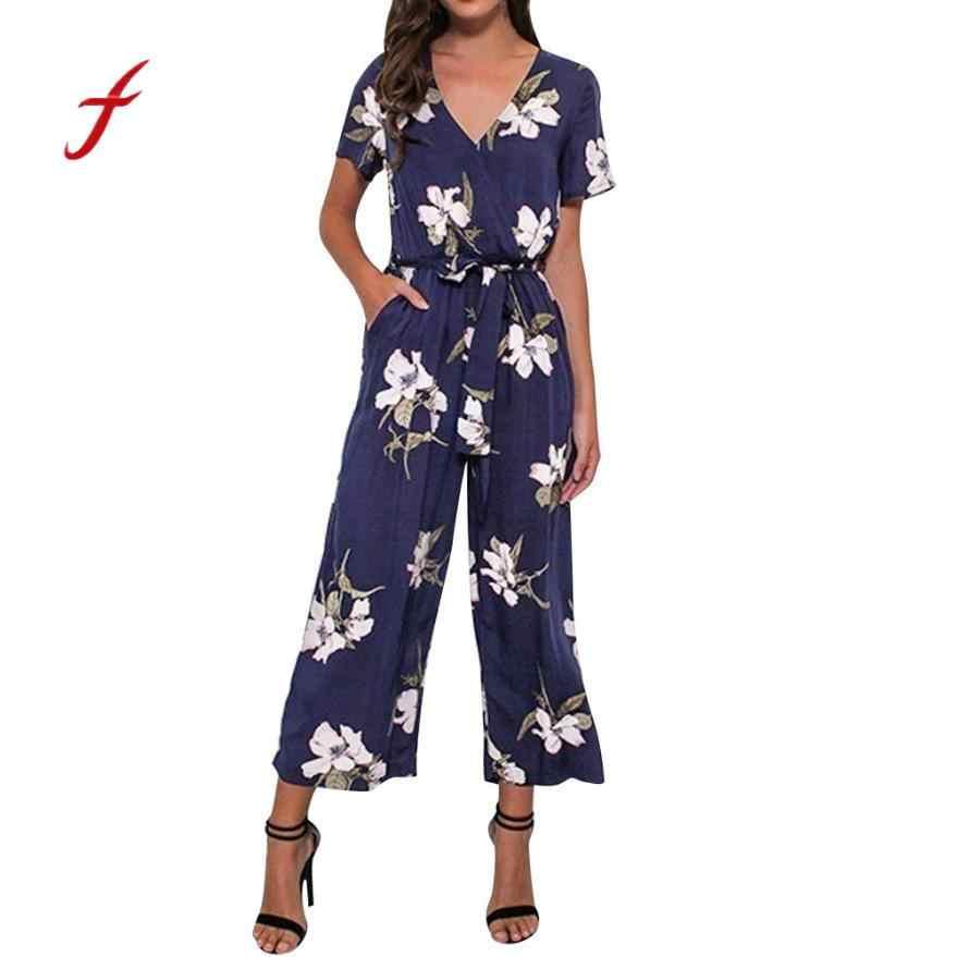 Feitong mujeres verano bodysuit mujeres cuello en V suelta Playsuit señoras fiesta Romper manga corta impreso Mono para mujer talla grande