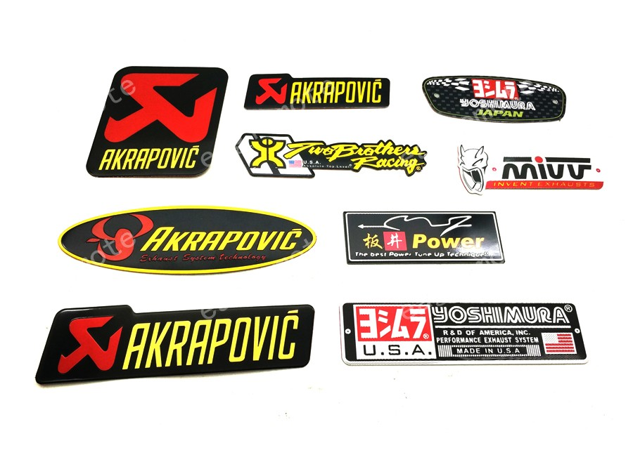 RPMMOTOR Motorcycle 3D Aluminium Heat-resistant label exhaust pipe Cool Yoshimura Akrapovic decals Universal Stickers