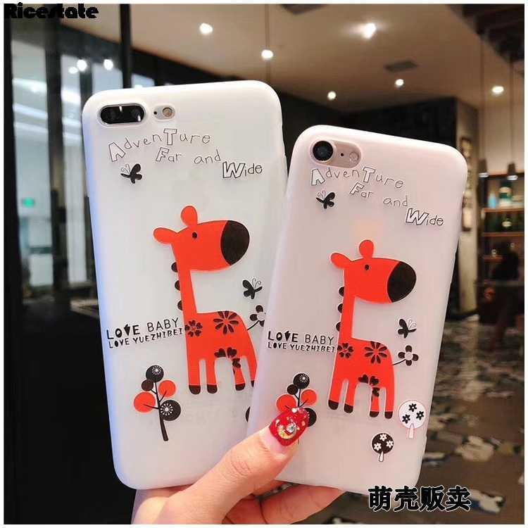 Ricestate için sevimli hayvan durumda X XR XS MAX 3D sevimli geyik silikon yumuşak telefon kılıfı için iPhone X 6 6S 7 8 artı TPU kapak