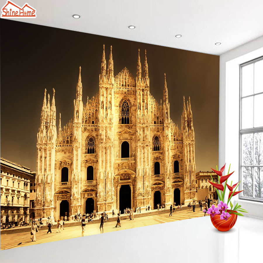 ShineHome-Europe Golden Church Wallpapers 3d Wallpaper for Walls 3 d  Living Room Wall Paper Murals Wallpaper Home Mural Roll shinehome red rose bloom golden golden wallpaper for 3d rooms walls wallpapers for 3 d living room wall paper murals mural roll