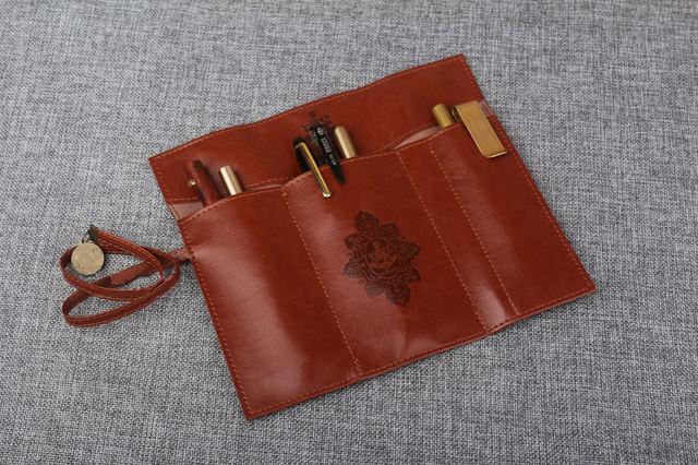 Vintage Portable Leather Pencil Case