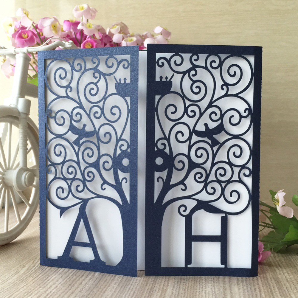 Wedding Invitations Business: 100pcs Laser Cut Pearl Paper Custmoized Initials Wedding
