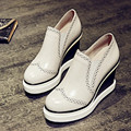 2016 New Brand Wedge Shoes Woman Fashion Platform Leather Shoes Women Pumps Casual Brogue Shoes Women