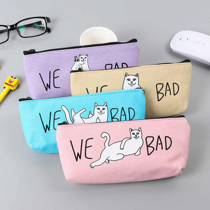 (1Pcs/Sell) Kawaii 4 color Pencils Case Canvas School Supplies Stationery Gift Estuches School Cute Pencil Box PencilBags