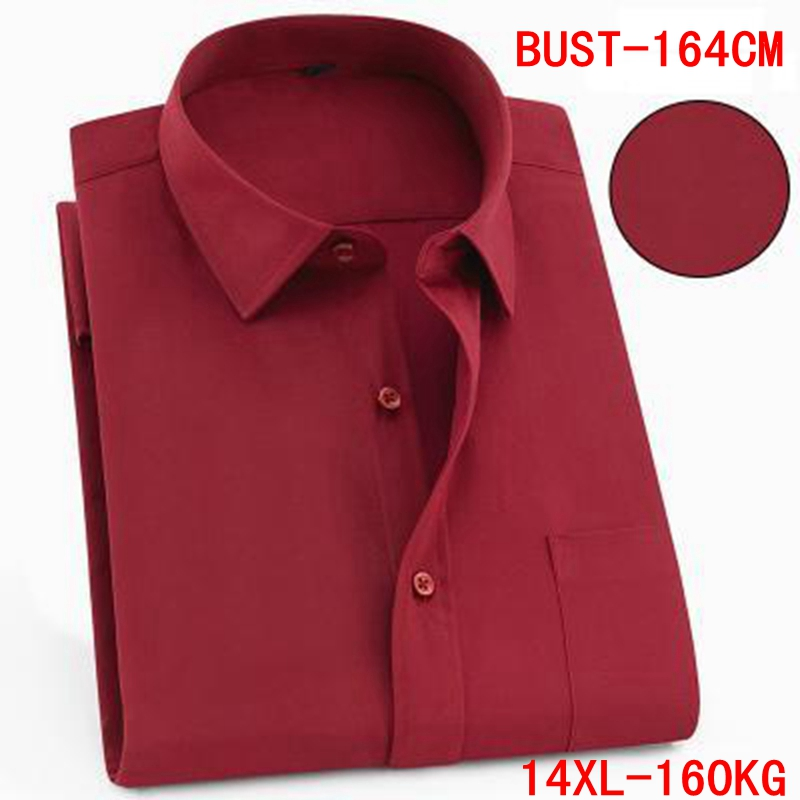 Men's Short Sleeve Big Shirt Large Size 10XL 11XL 12XL 13XL 14XL Business Office Comfortable Summer Lapel Red Shirt 8XL 9XL