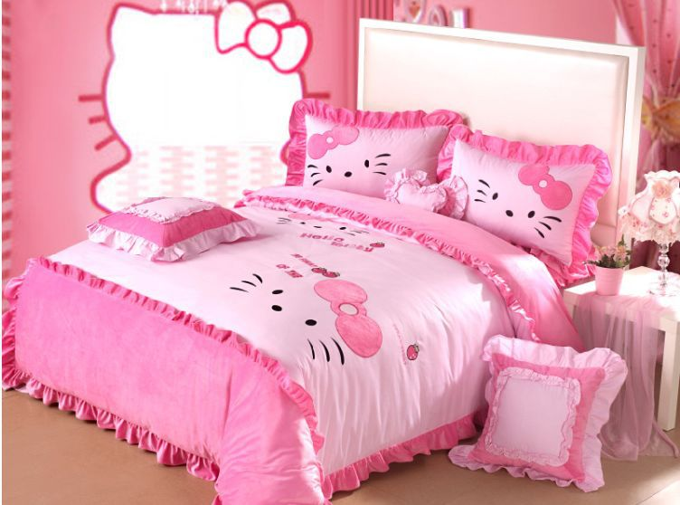 4pcs 6pcs Pink Hello Kitty Queen Size Bedding Purple Comforter Set King Mickey Mouse And Mine In Sets From Home