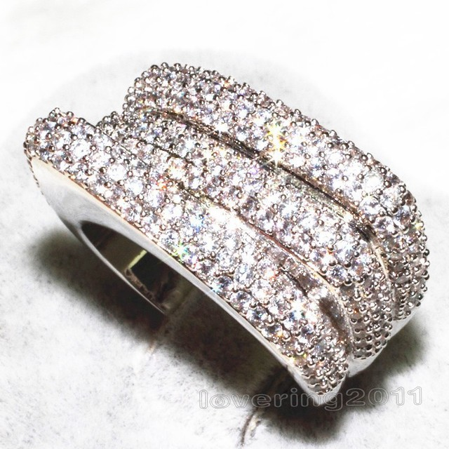 Victoria Wieck Vintage Claw Set 240PCS Topaz Simulated Diamond 10KT White Gold Filled Wedding Band Ring For Women Sz 5-11 Gift