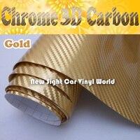 Высококачественное Золотое хромовое углеродное волокно пленка для обертывания автомобиля воздушный пузырь свободный размер: 1,52*30 м/рулон