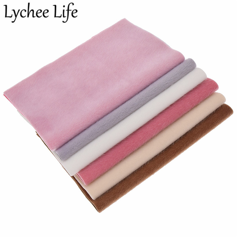 Lychee Life A4 Fur Leather Flocking Fabric 29x21cm Solid Color Flocked Fabric DIY Handmade Sewing Clothes Accessories Supplies