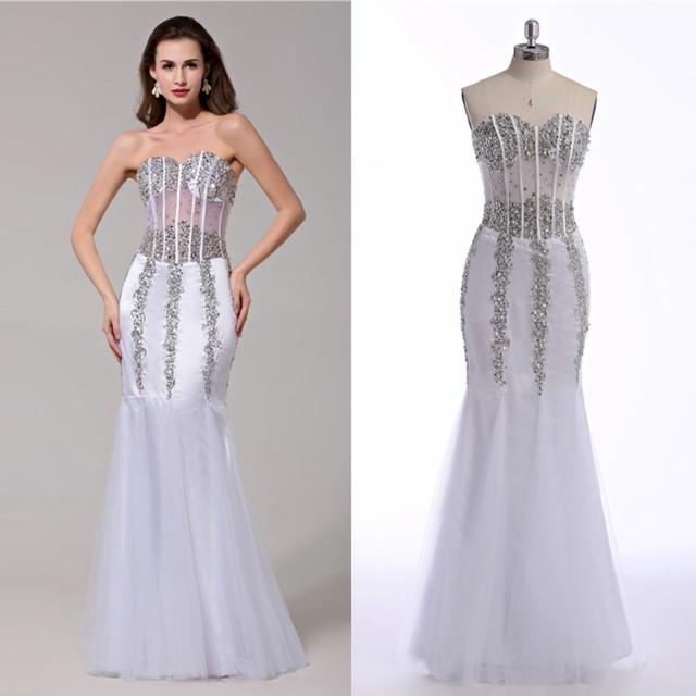 Best quality designer modest sequin prom dresses on sale satin white ...