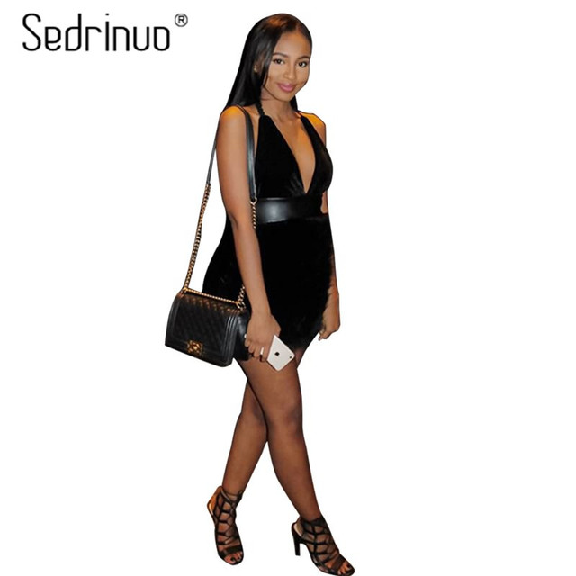 Sedrinuo Sexy Dresses Party Night Club Dress 2017 New Fashion Fur Deeps V neck Off the Shoulder Bodycon Backless Women Dresses