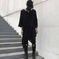 Men Punk Gothic Style Loose Long T shirt Male Oversize V neck Fashion Casual Half Sleeve Tee Shirt