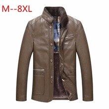 8XL 7XL 6XL 5XL 4XL New Warm Winter Sheepskin Men's Leather jacket Men Leisure Fur coat Men Brand luxury Real Leather coat plus
