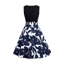 цена Women  O-Neck Dress 2019 Fashion Elegant Pin Up Floral Dress Retro Casual 50s Robe Vintage Party Rockabilly Dresses Vestidos USA в интернет-магазинах